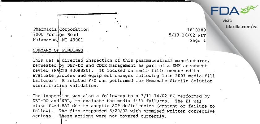 Pharmacia & Upjohn Company FDA inspection 483 May 2002
