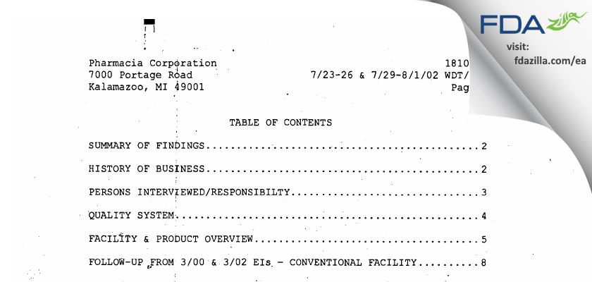 Pharmacia & Upjohn Company FDA inspection 483 Aug 2002