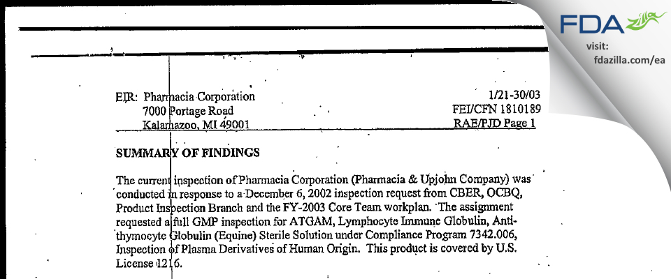Pharmacia & Upjohn Company FDA inspection 483 Jan 2003