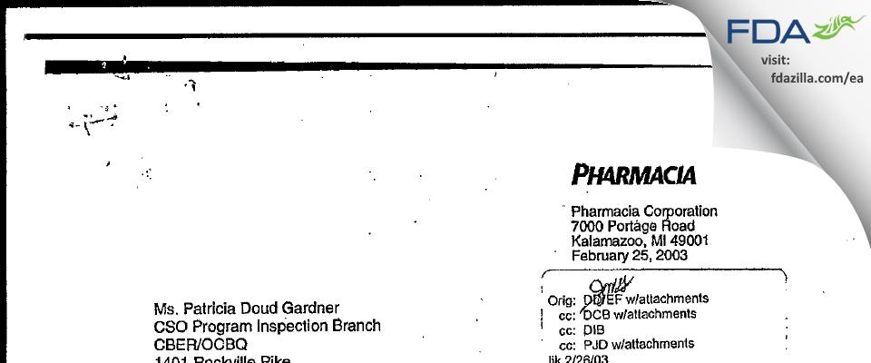 Pharmacia & Upjohn Company FDA inspection 483 Jan 2003