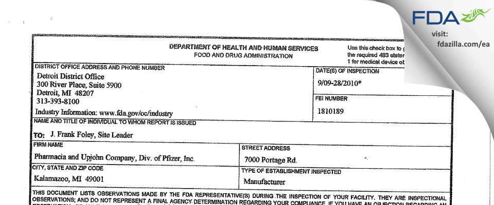 Pharmacia & Upjohn Company FDA inspection 483 Sep 2010