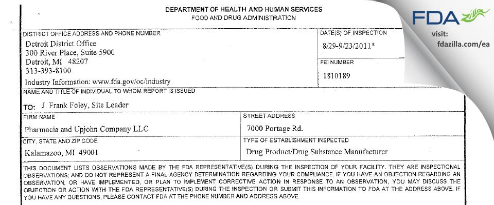 Pharmacia & Upjohn Company FDA inspection 483 Sep 2011