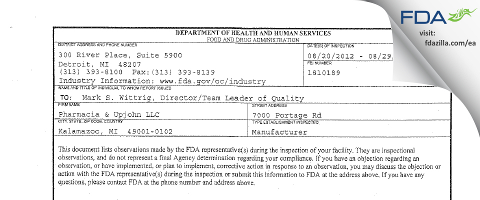 Pharmacia & Upjohn Company FDA inspection 483 Aug 2012