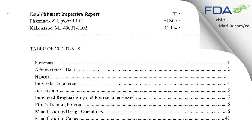 Pharmacia & Upjohn Company FDA inspection 483 Jun 2013