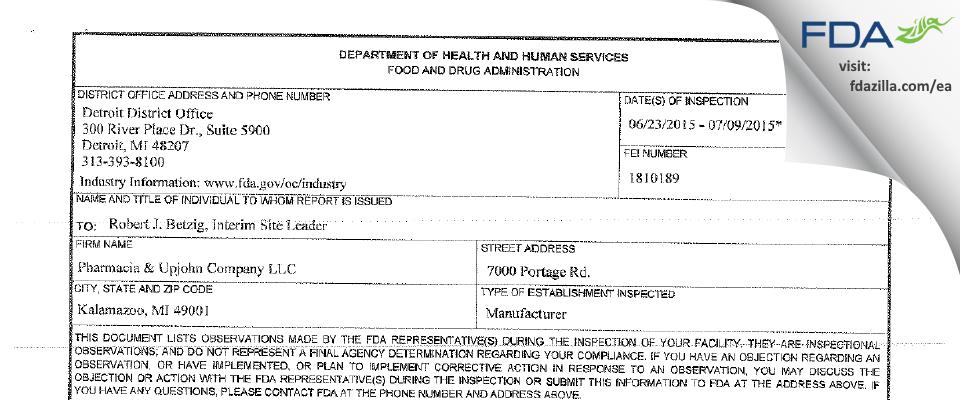 Pharmacia & Upjohn Company FDA inspection 483 Jul 2015