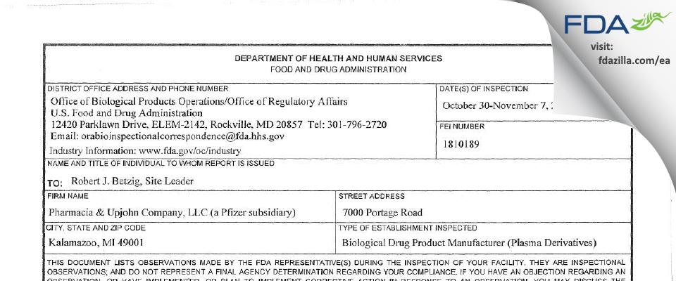 Pharmacia & Upjohn Company FDA inspection 483 Nov 2017