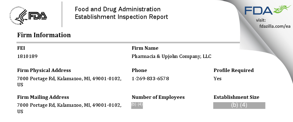 Pharmacia & Upjohn Company FDA inspection 483 Dec 2018