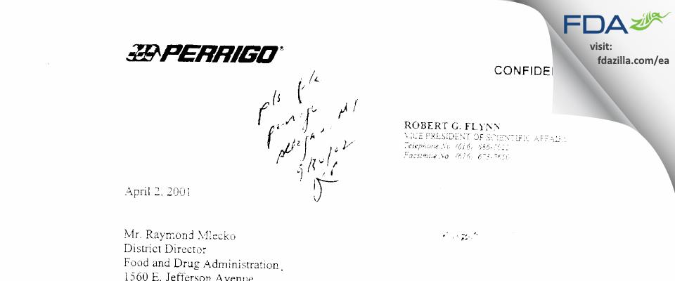 L. Perrigo Company FDA inspection 483 Mar 2001