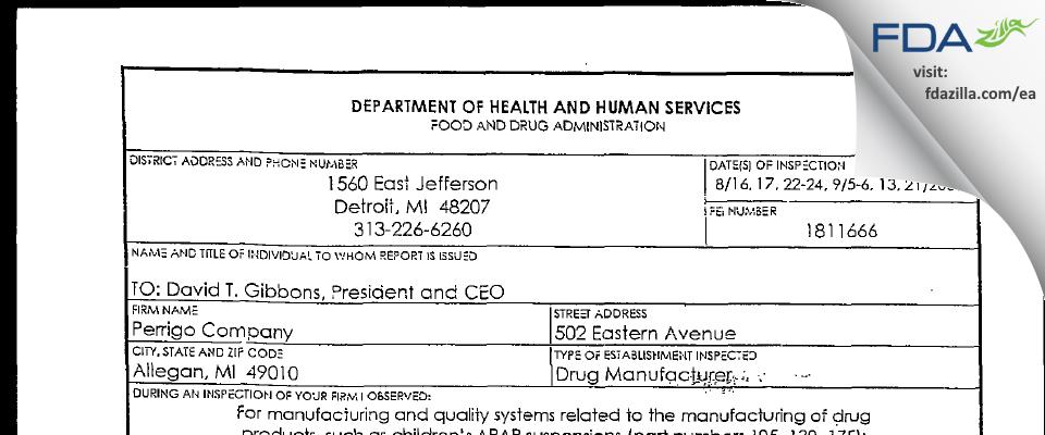 L. Perrigo Company FDA inspection 483 Sep 2001