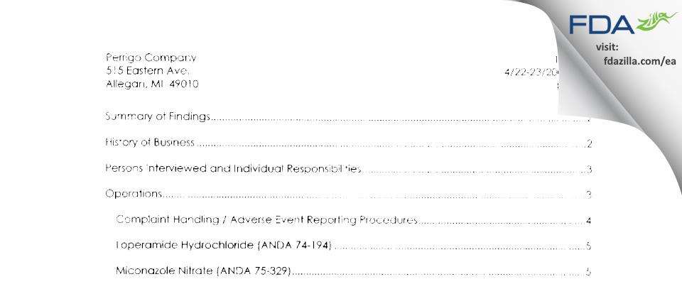 L. Perrigo Company FDA inspection 483 Apr 2002