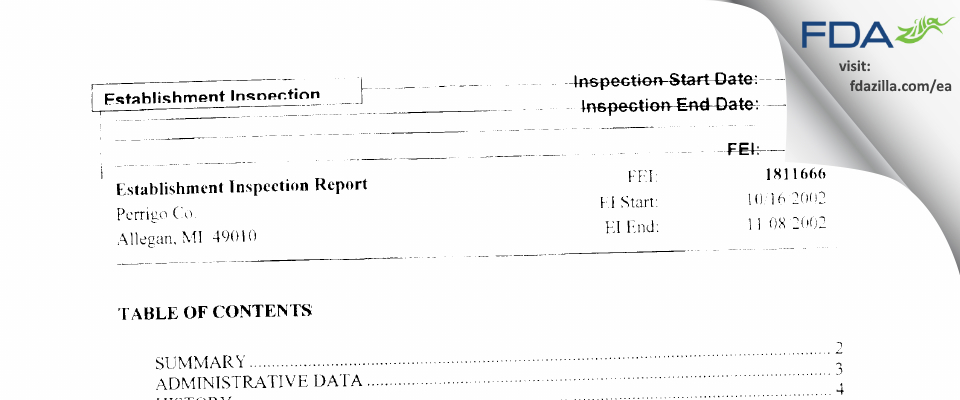 L. Perrigo Company FDA inspection 483 Nov 2002