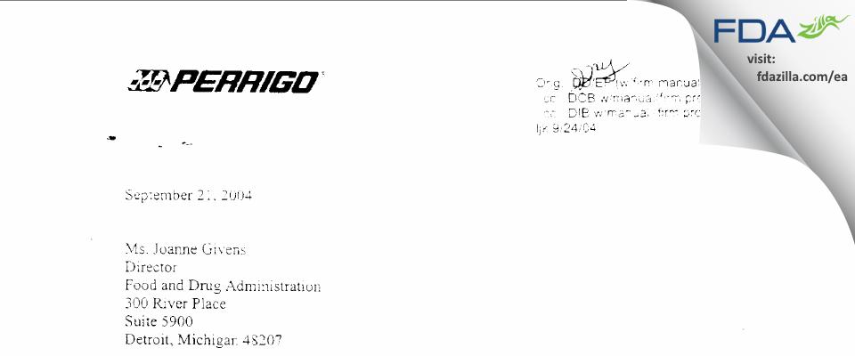 L. Perrigo Company FDA inspection 483 Sep 2004