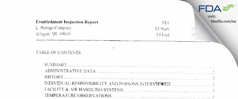 L. Perrigo Company FDA inspection 483 Jul 2005