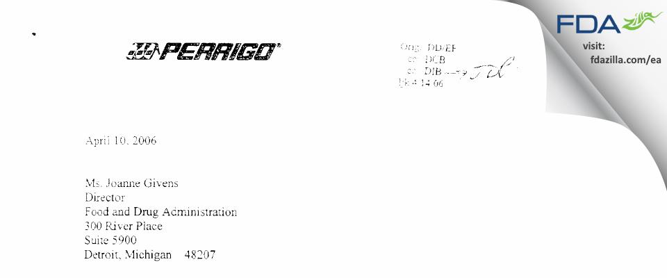 L. Perrigo Company FDA inspection 483 Mar 2006