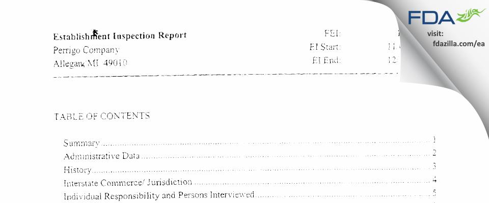 L. Perrigo Company FDA inspection 483 Dec 2006