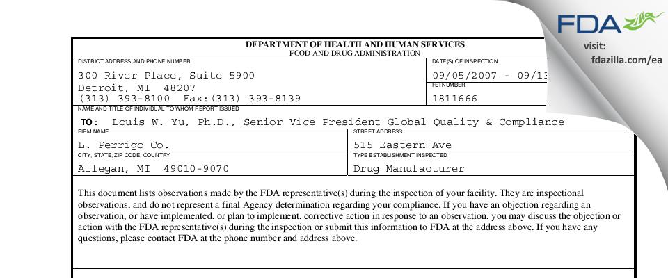 L. Perrigo Company FDA inspection 483 Sep 2007