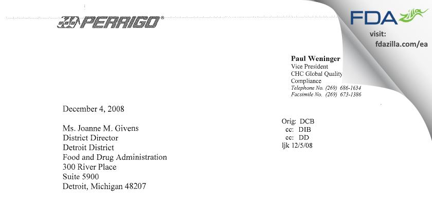 L. Perrigo Company FDA inspection 483 Nov 2008
