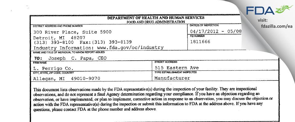 L. Perrigo Company FDA inspection 483 May 2012