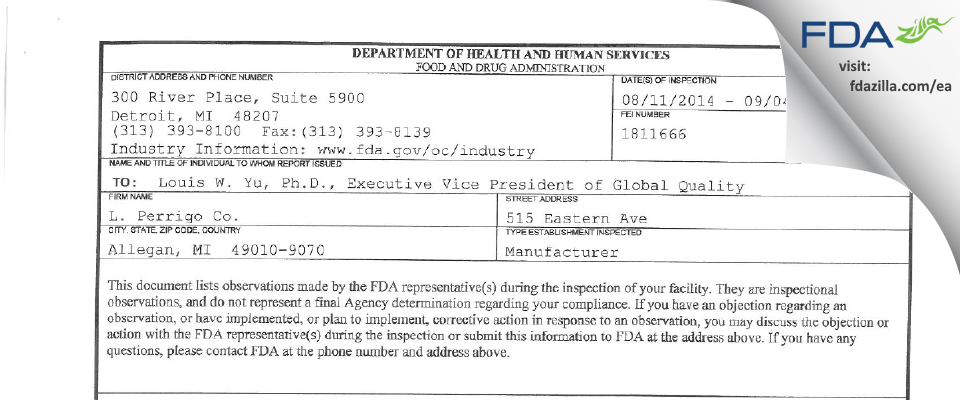 L. Perrigo Company FDA inspection 483 Sep 2014