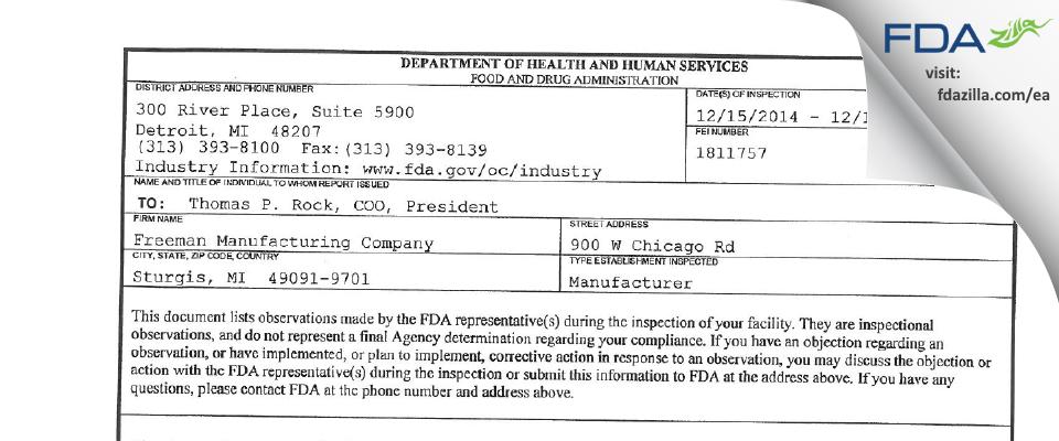 Freeman Enterprise FDA inspection 483 Dec 2014