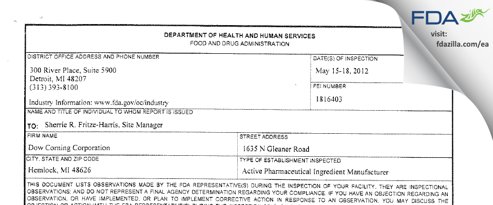 Dow Silicones FDA inspection 483 May 2012