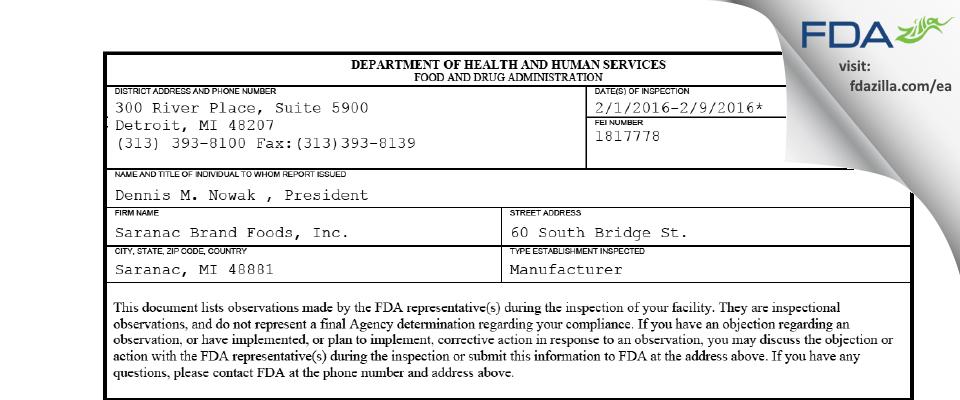 Saranac Brand Foods FDA inspection 483 Feb 2016
