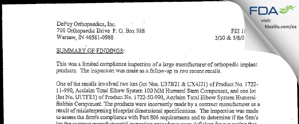 DePuy Orthopaedics FDA inspection 483 May 2001