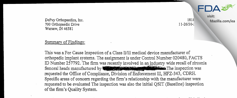 DePuy Orthopaedics FDA inspection 483 Nov 2001
