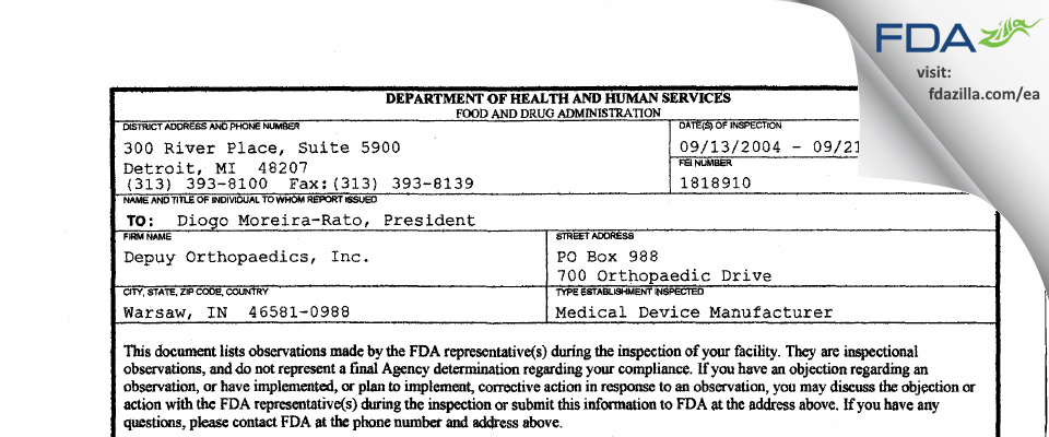 DePuy Orthopaedics FDA inspection 483 Sep 2004