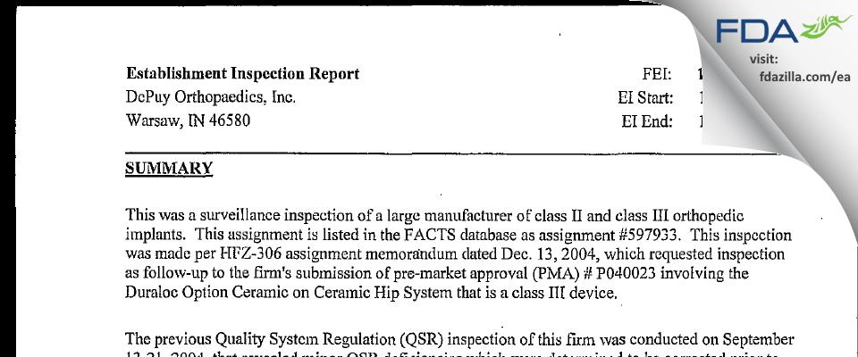 DePuy Orthopaedics FDA inspection 483 Jan 2005