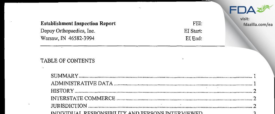 DePuy Orthopaedics FDA inspection 483 May 2006