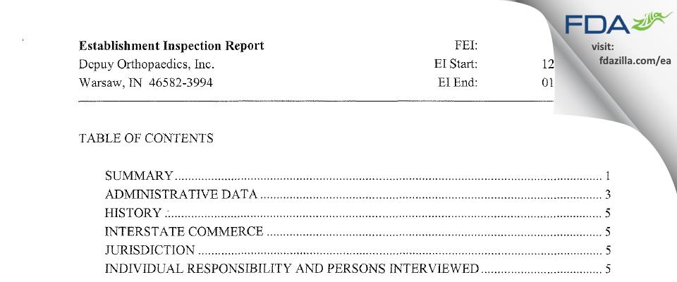 DePuy Orthopaedics FDA inspection 483 Jan 2008