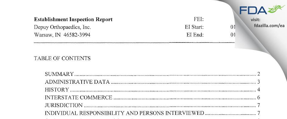 DePuy Orthopaedics FDA inspection 483 Feb 2008