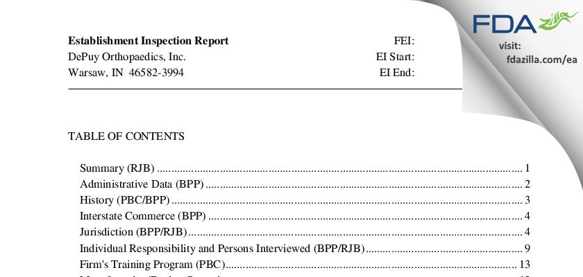 DePuy Orthopaedics FDA inspection 483 Jun 2011