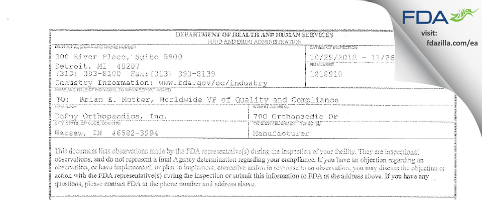 DePuy Orthopaedics FDA inspection 483 Nov 2012
