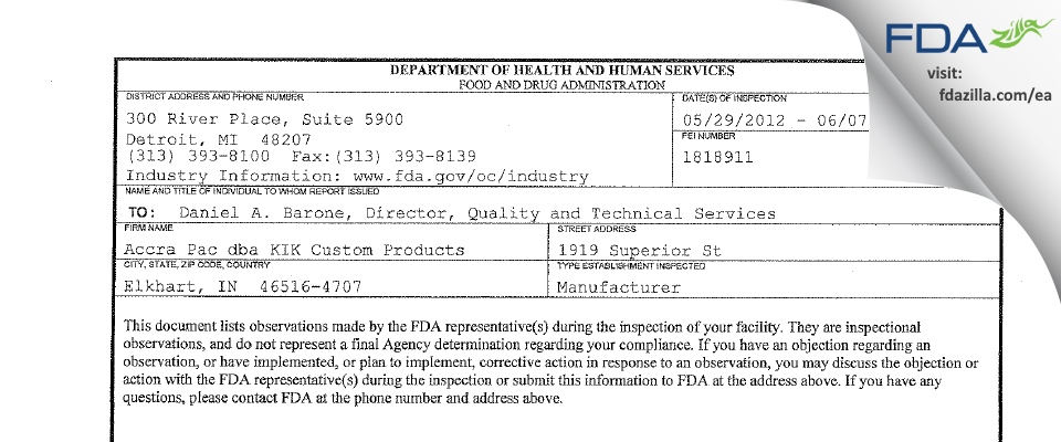 Accra Pac dba KIK Custom Products FDA inspection 483 Jun 2012