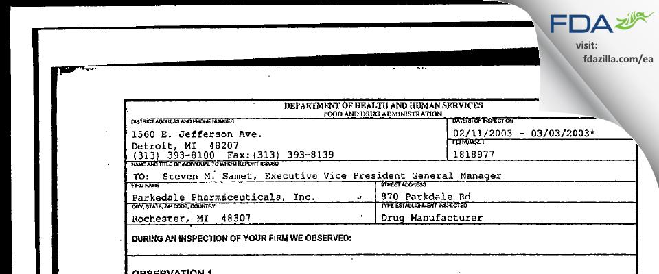 PAR Sterile Products FDA inspection 483 Mar 2003