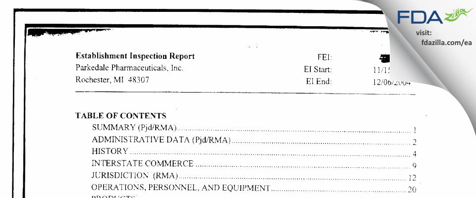 PAR Sterile Products FDA inspection 483 Dec 2004