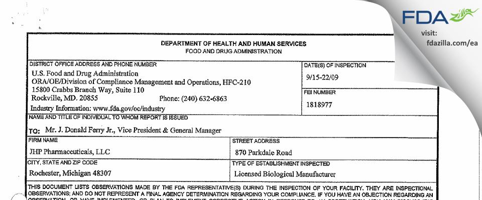 PAR Sterile Products FDA inspection 483 Sep 2009