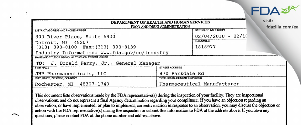 PAR Sterile Products FDA inspection 483 Feb 2010