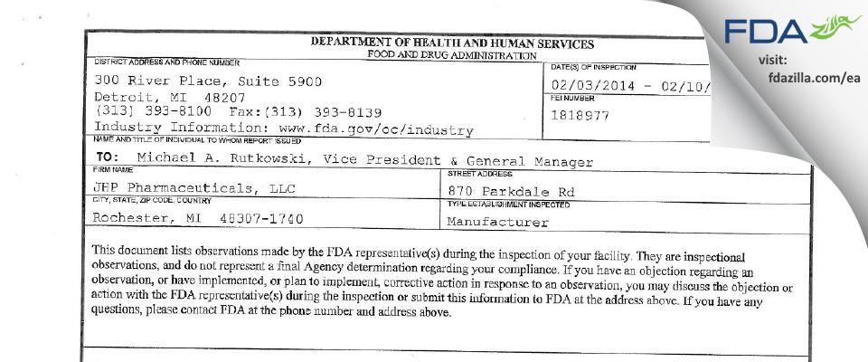 PAR Sterile Products FDA inspection 483 Feb 2014