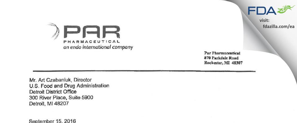 PAR Sterile Products FDA inspection 483 Aug 2016