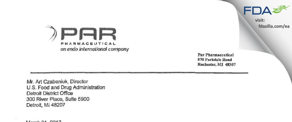 PAR Sterile Products FDA inspection 483 Mar 2017