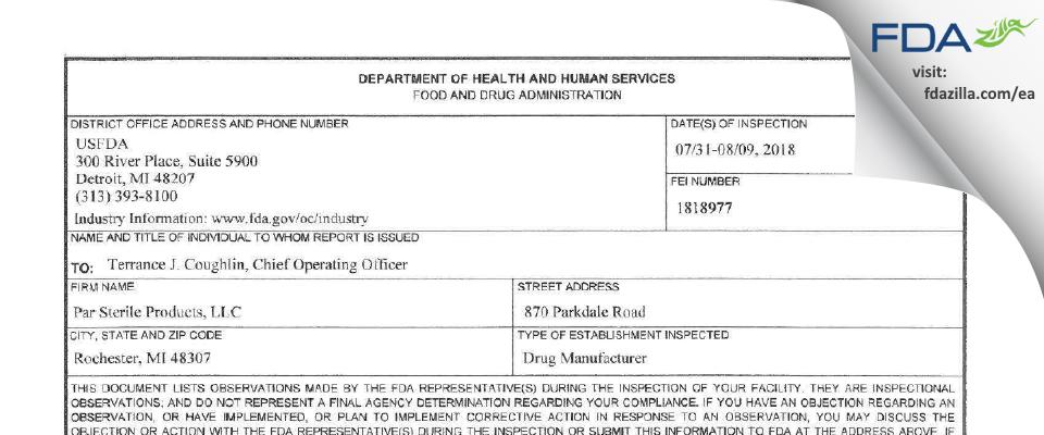 PAR Sterile Products FDA inspection 483 Aug 2018