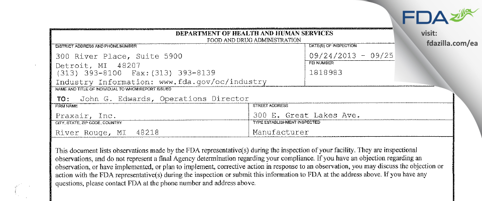 Praxair FDA inspection 483 Sep 2013
