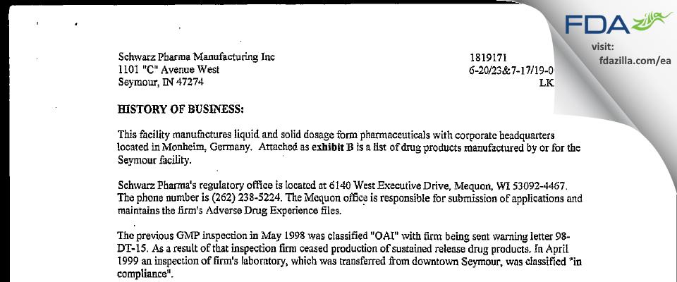 Lannett Company FDA inspection 483 Jul 2000