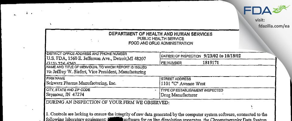 Lannett Company FDA inspection 483 Oct 2002