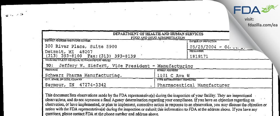 Lannett Company FDA inspection 483 Jun 2004