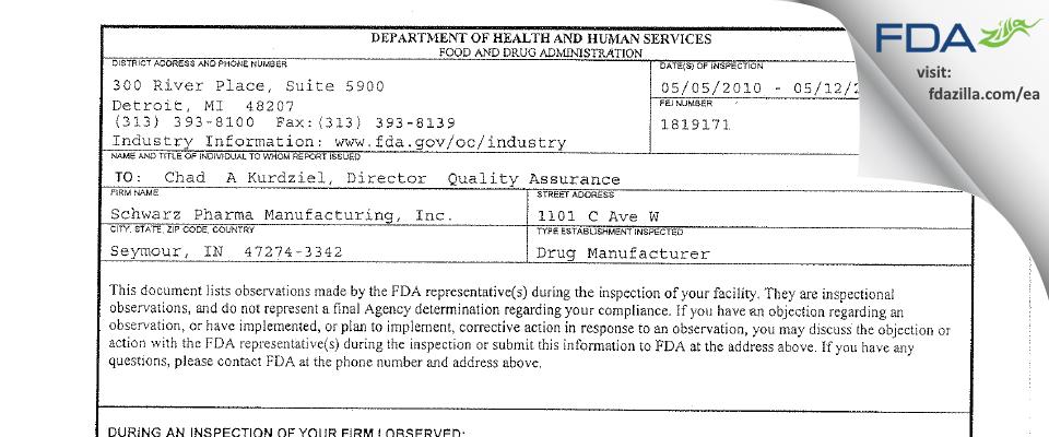 Lannett Company FDA inspection 483 May 2010