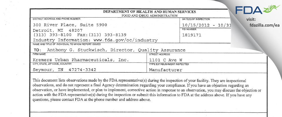 Lannett Company FDA inspection 483 Oct 2012